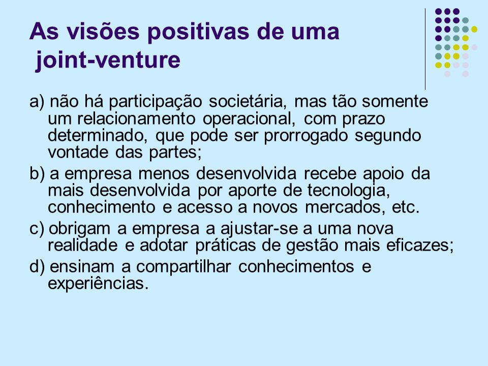 As visões positivas de uma joint-venture