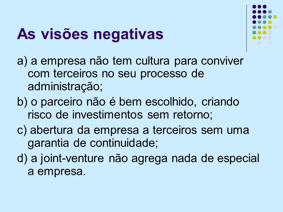 As visões negativas a) a empresa não tem cultura para conviver com terceiros no seu processo de administração;