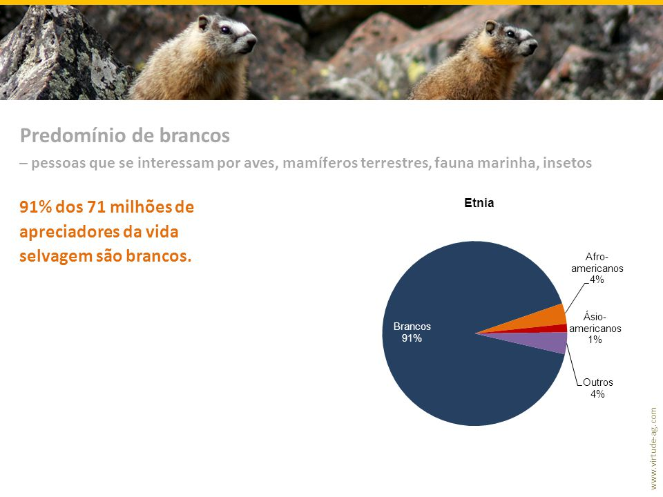 Predomínio de brancos – pessoas que se interessam por aves, mamíferos terrestres, fauna marinha, insetos.