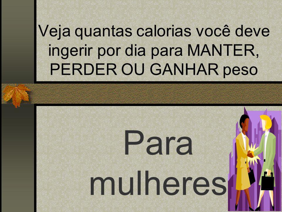 Veja quantas calorias você deve ingerir por dia para MANTER, PERDER OU GANHAR peso