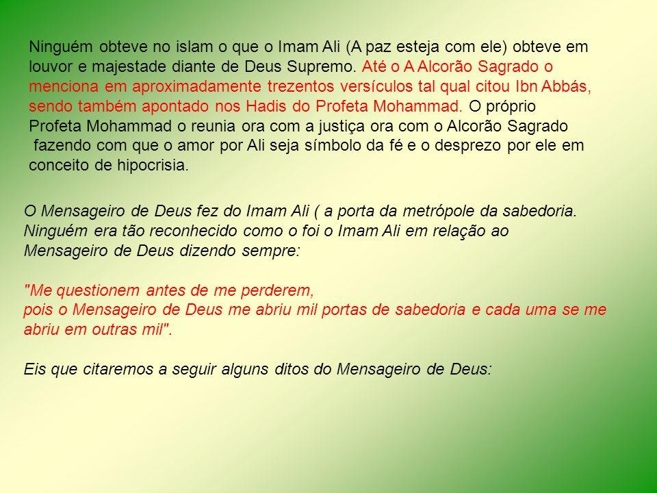 Ninguém obteve no islam o que o Imam Ali (A paz esteja com ele) obteve em