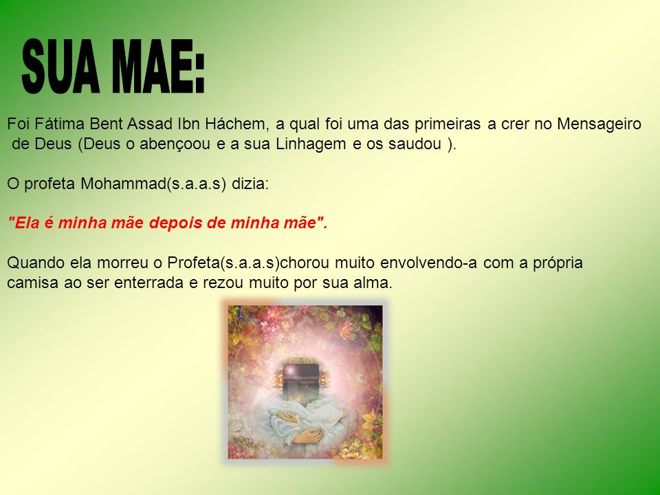 SUA MAE: Foi Fátima Bent Assad Ibn Háchem, a qual foi uma das primeiras a crer no Mensageiro.