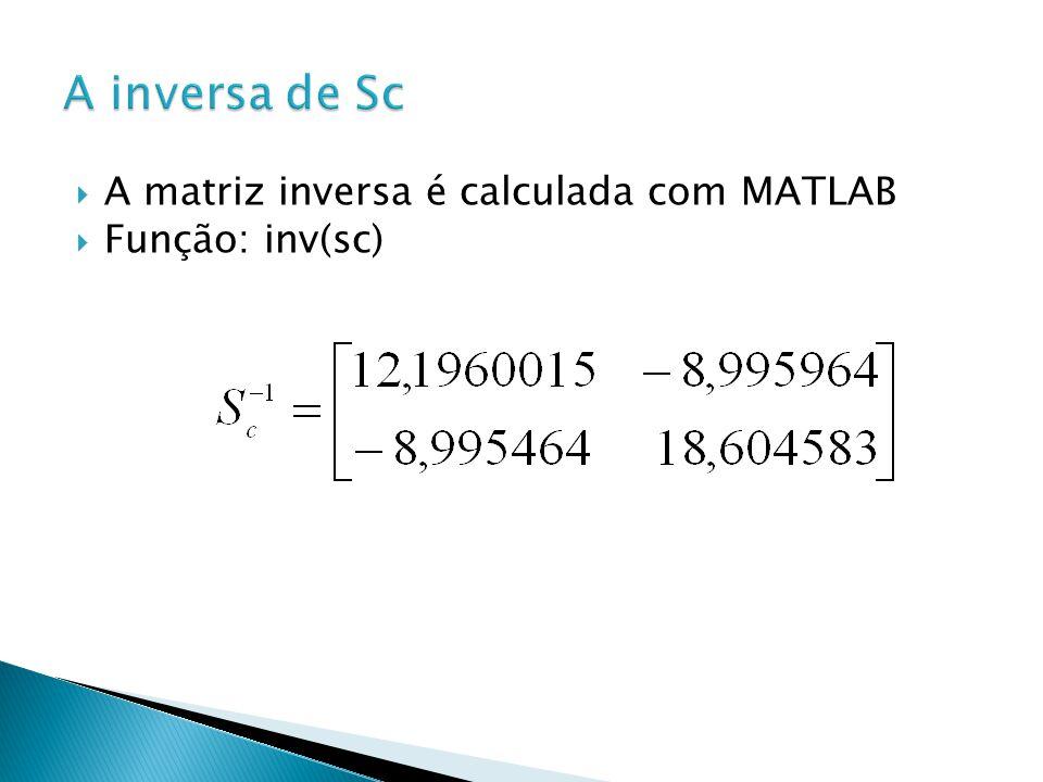 A inversa de Sc A matriz inversa é calculada com MATLAB