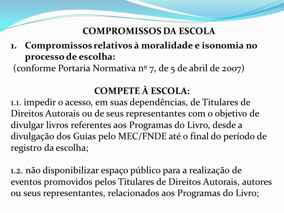 COMPROMISSOS DA ESCOLA
