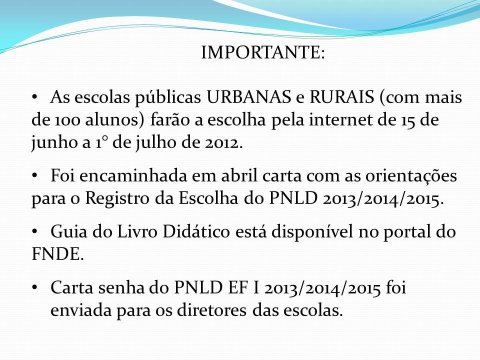 IMPORTANTE: As escolas públicas URBANAS e RURAIS (com mais de 100 alunos) farão a escolha pela internet de 15 de junho a 1° de julho de 2012.