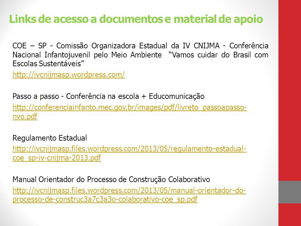 Links de acesso a documentos e material de apoio