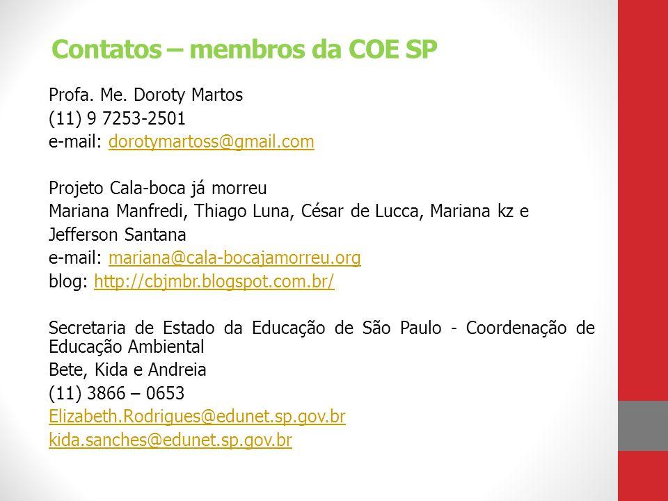 Contatos – membros da COE SP