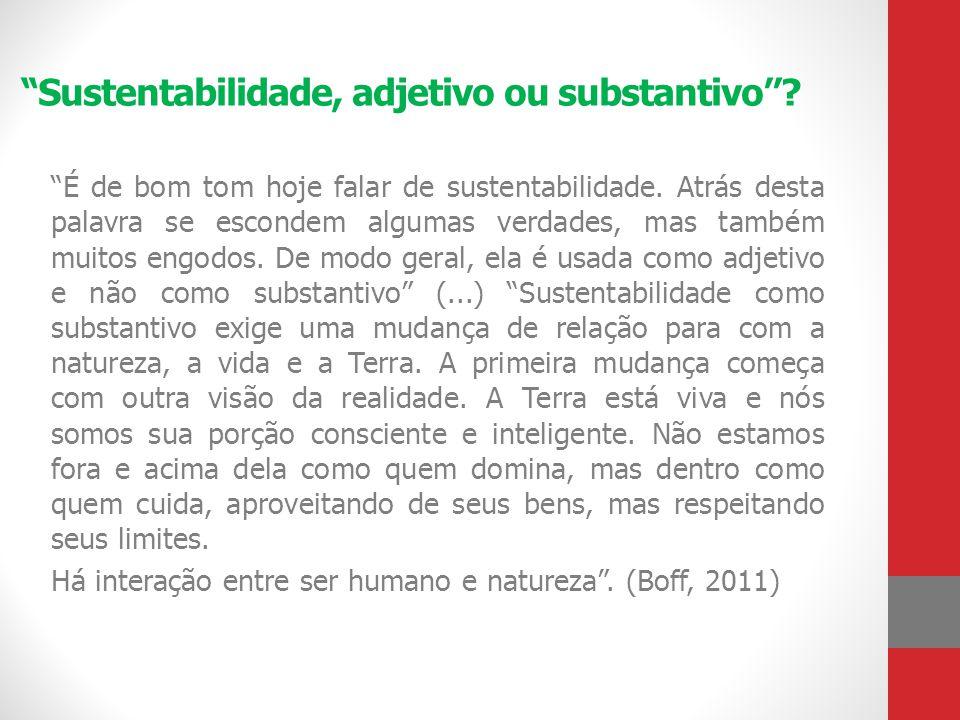 Sustentabilidade, adjetivo ou substantivo''
