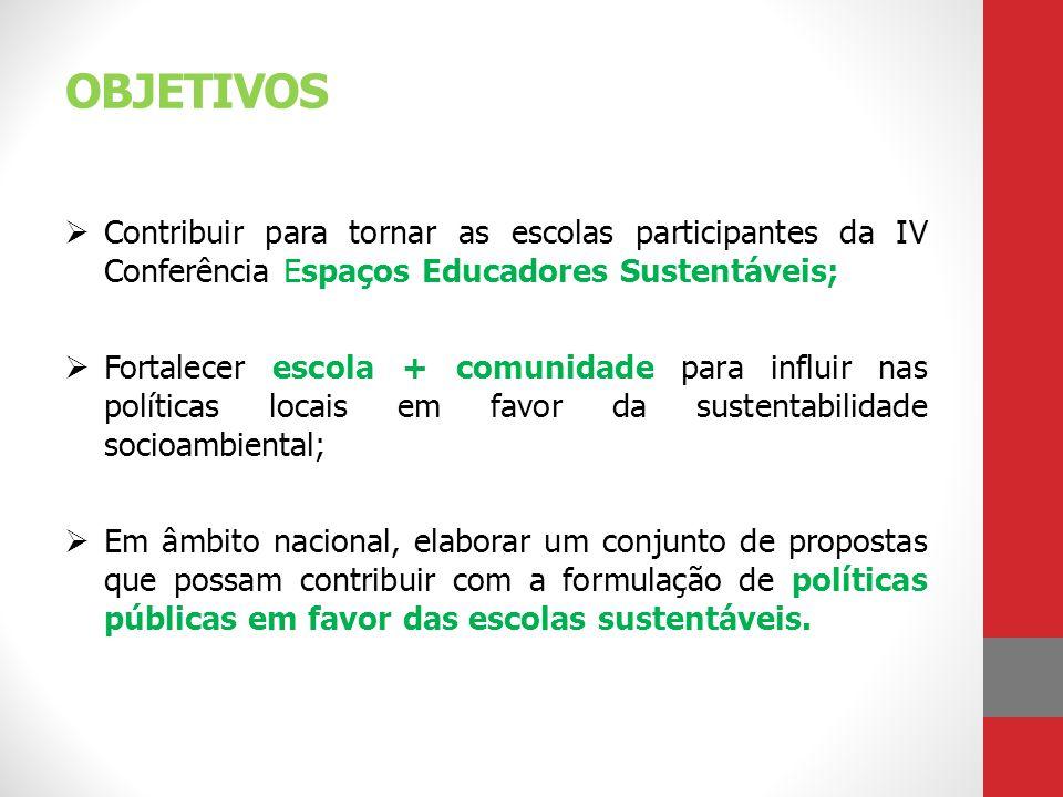 OBJETIVOS Contribuir para tornar as escolas participantes da IV Conferência Espaços Educadores Sustentáveis;