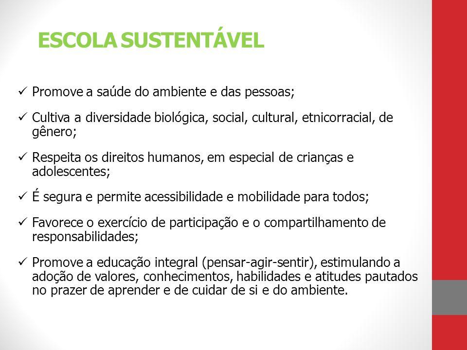 ESCOLA SUSTENTÁVEL Promove a saúde do ambiente e das pessoas;
