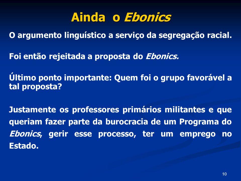 Ainda o Ebonics O argumento linguístico a serviço da segregação racial. Foi então rejeitada a proposta do Ebonics.
