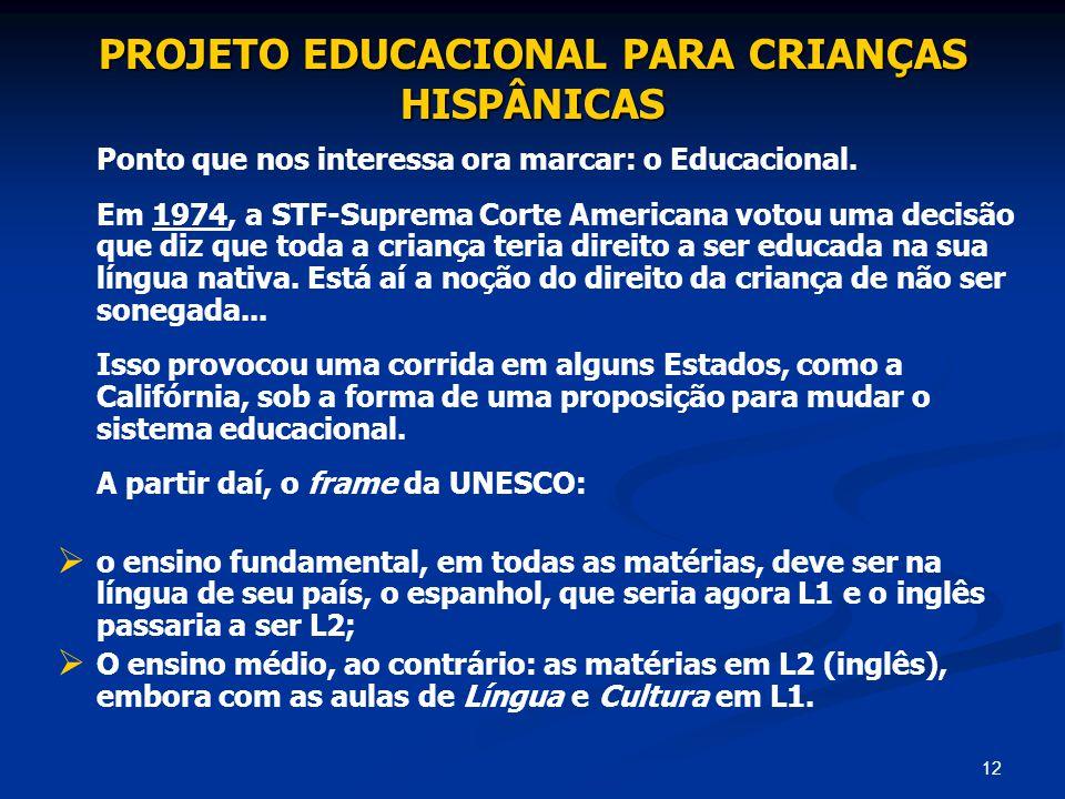 PROJETO EDUCACIONAL PARA CRIANÇAS HISPÂNICAS