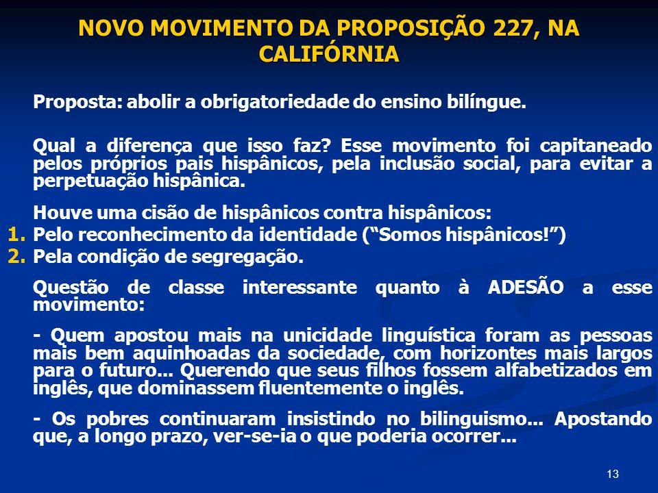 NOVO MOVIMENTO DA PROPOSIÇÃO 227, NA CALIFÓRNIA
