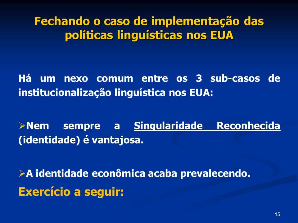 Fechando o caso de implementação das políticas linguísticas nos EUA