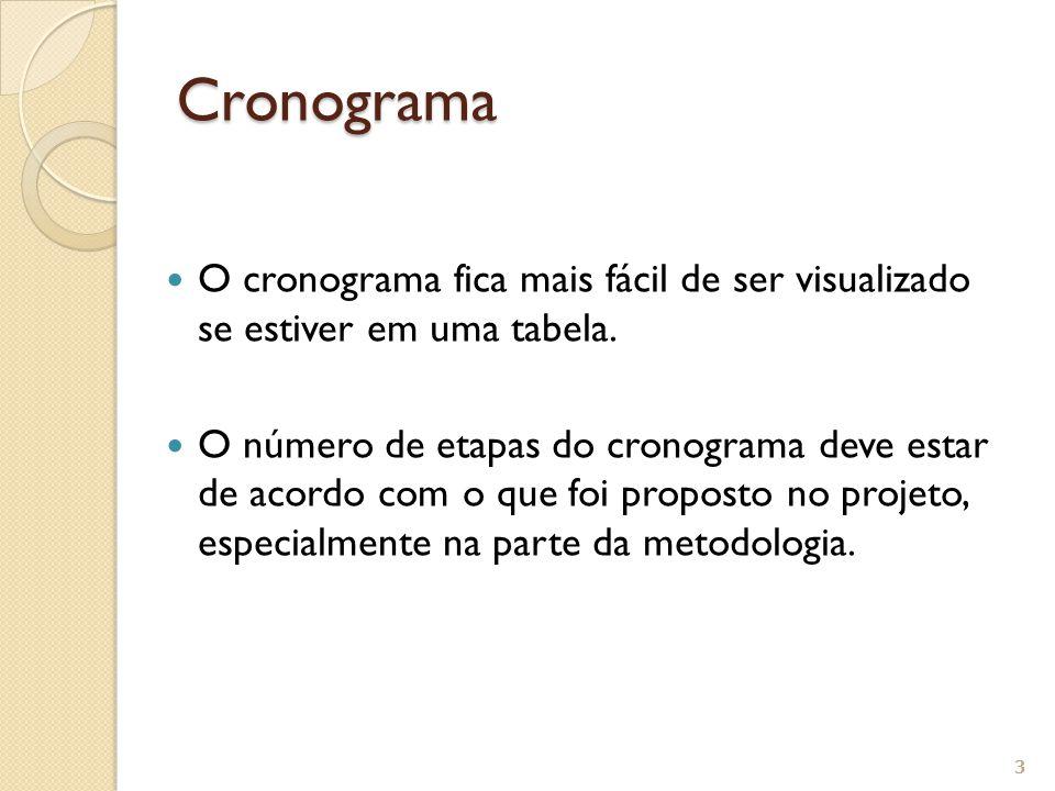 Cronograma O cronograma fica mais fácil de ser visualizado se estiver em uma tabela.