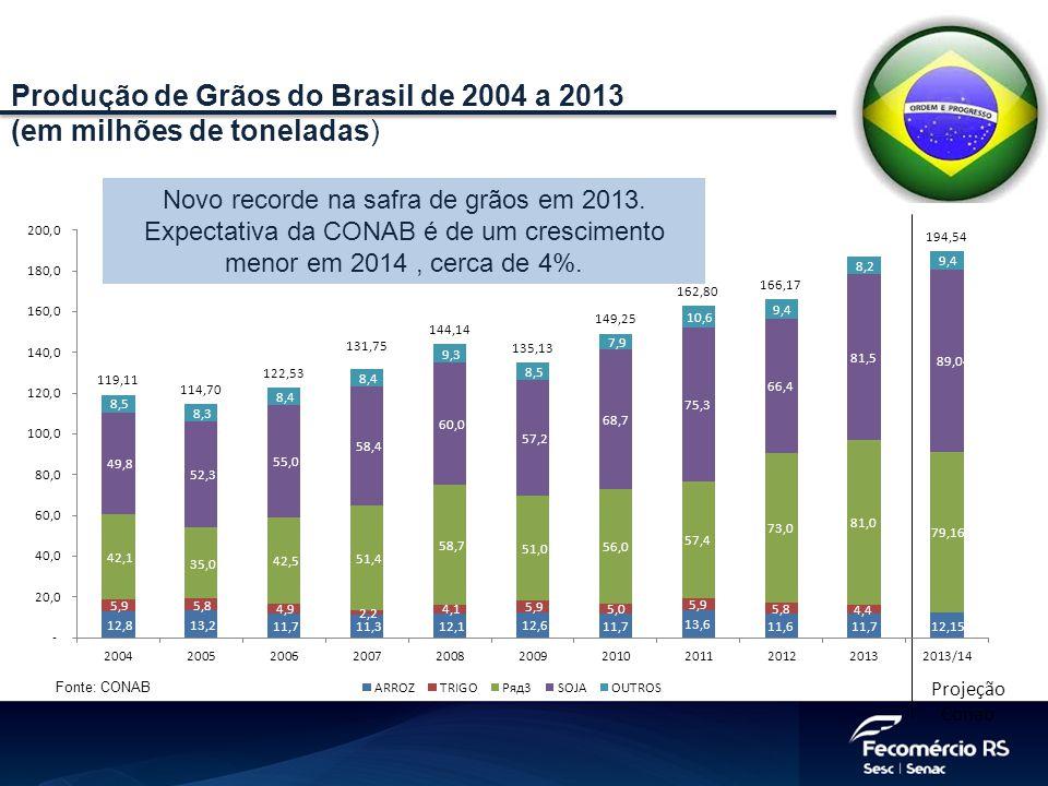 Produção de Grãos do Brasil de 2004 a 2013 (em milhões de toneladas)