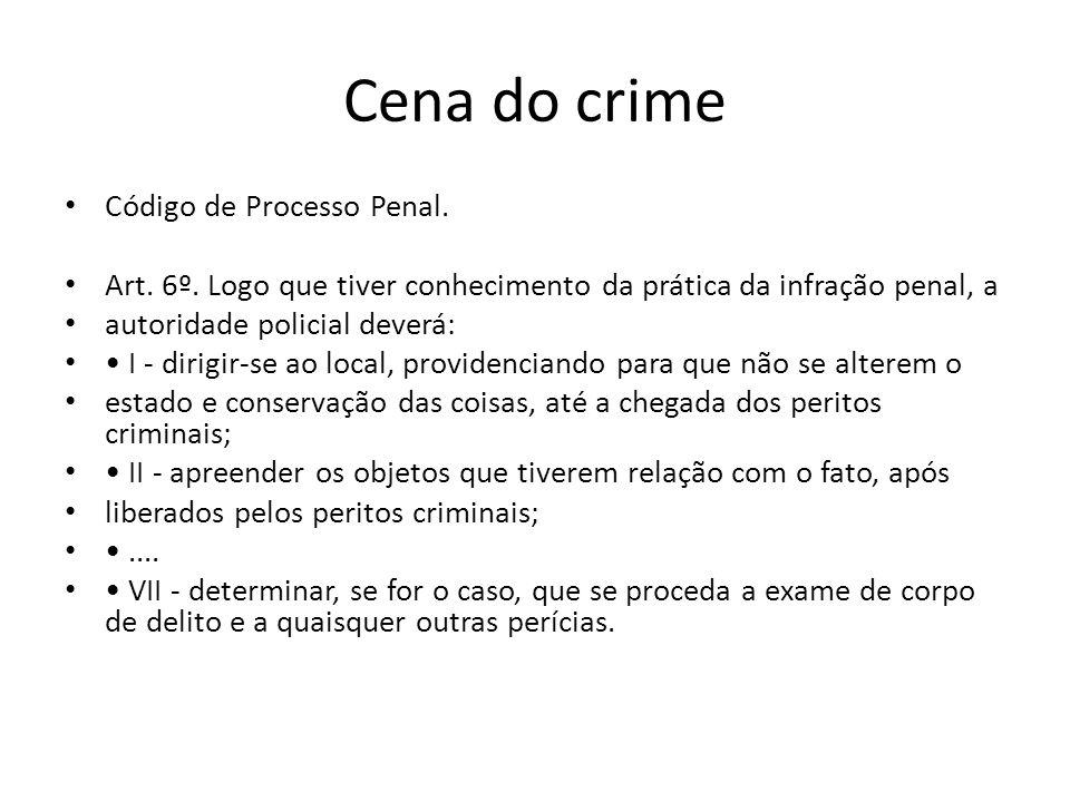Cena do crime Código de Processo Penal.