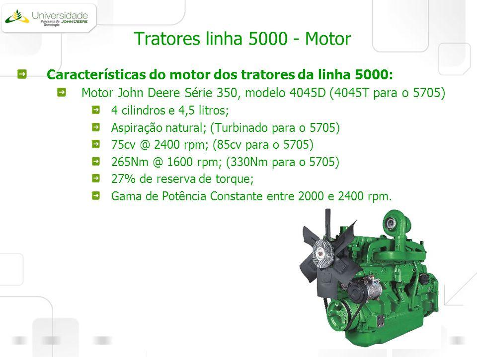 Tratores linha 5000 - Motor Características do motor dos tratores da linha 5000: Motor John Deere Série 350, modelo 4045D (4045T para o 5705)