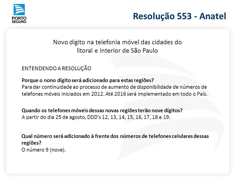 Resolução 553 - Anatel Novo dígito na telefonia móvel das cidades do
