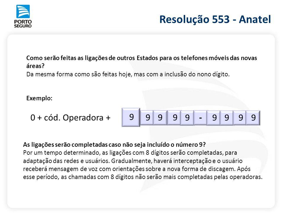 Resolução 553 - Anatel 9 0 + cód. Operadora + 9 -