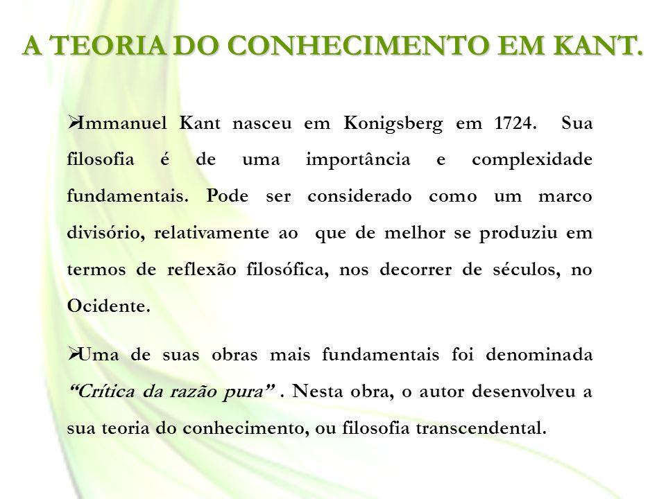 A TEORIA DO CONHECIMENTO EM KANT.