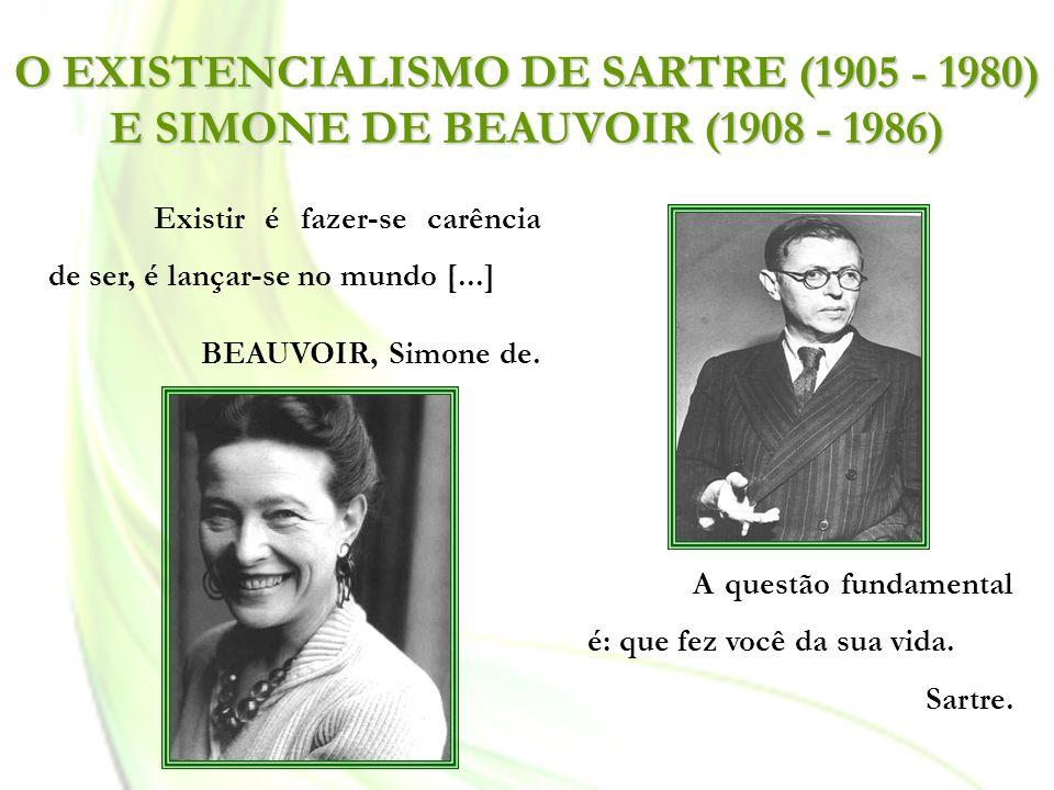 O EXISTENCIALISMO DE SARTRE (1905 - 1980) E SIMONE DE BEAUVOIR (1908 - 1986)