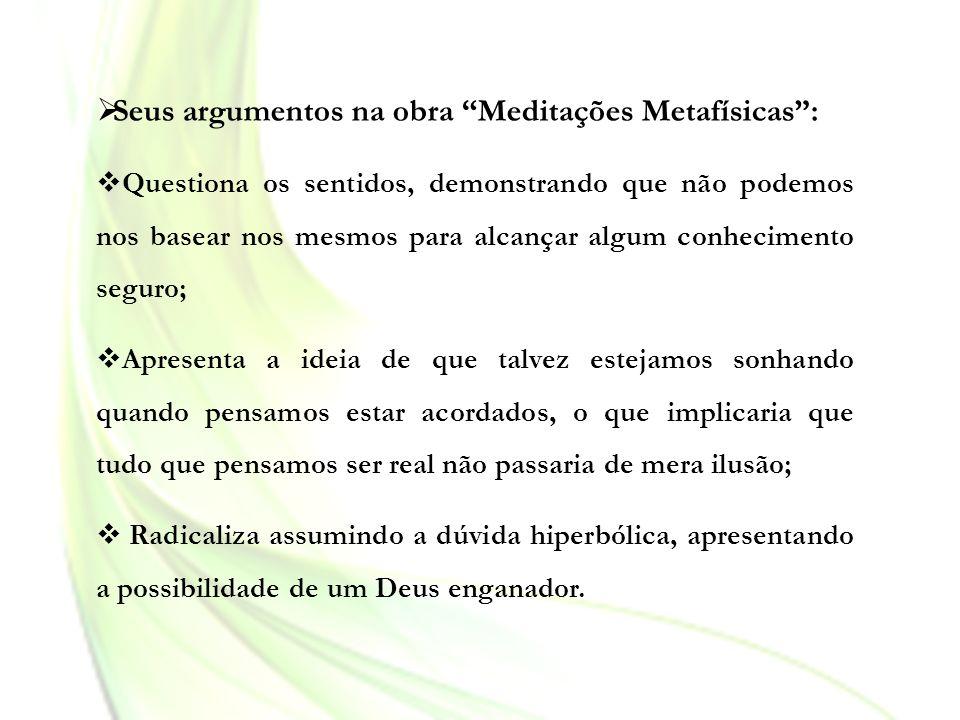 Seus argumentos na obra Meditações Metafísicas :