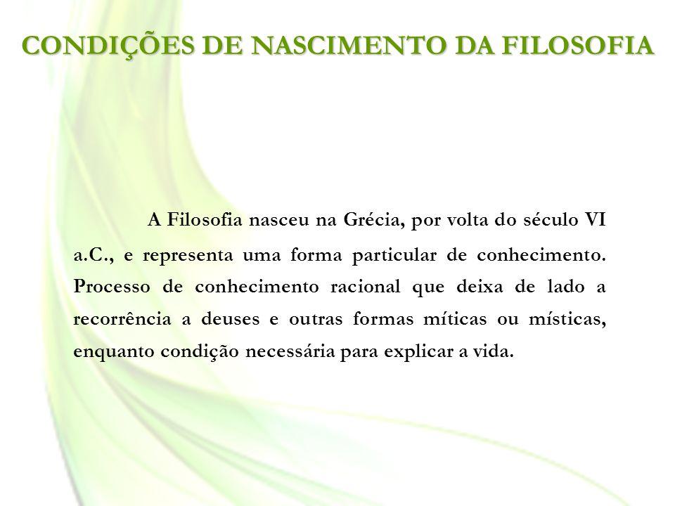 CONDIÇÕES DE NASCIMENTO DA FILOSOFIA