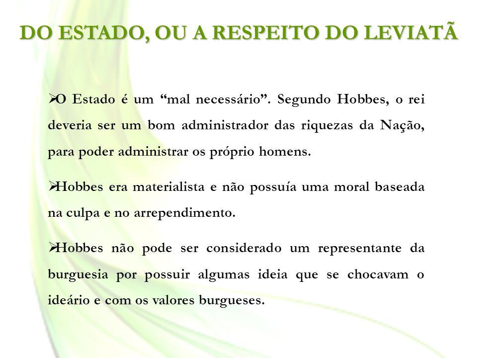 DO ESTADO, OU A RESPEITO DO LEVIATÃ