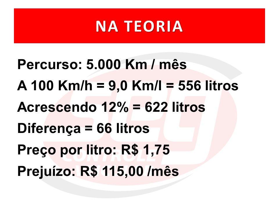 NA TEORIA Percurso: 5.000 Km / mês A 100 Km/h = 9,0 Km/l = 556 litros
