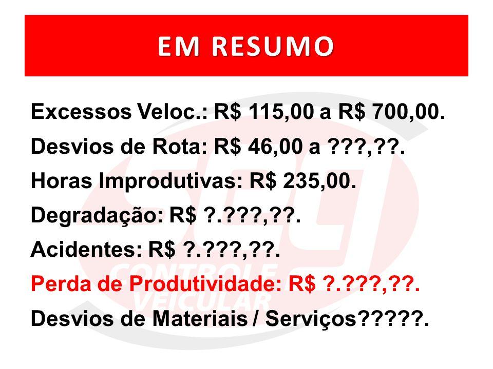 EM RESUMO Excessos Veloc.: R$ 115,00 a R$ 700,00.