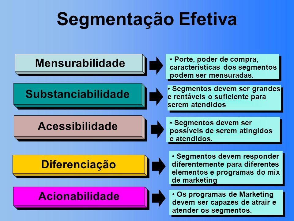 Segmentação Efetiva Mensurabilidade Substanciabilidade Acessibilidade