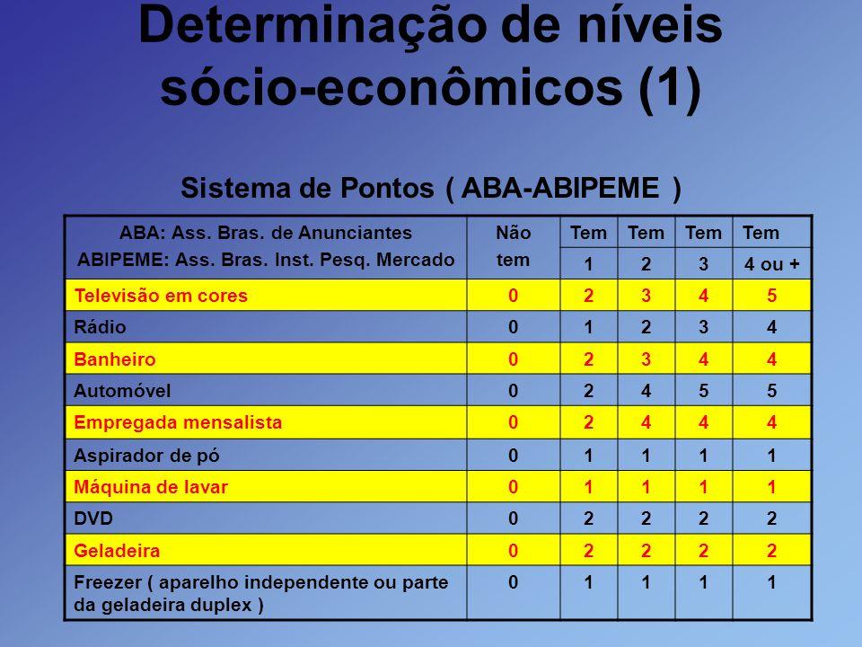 Determinação de níveis sócio-econômicos (1)