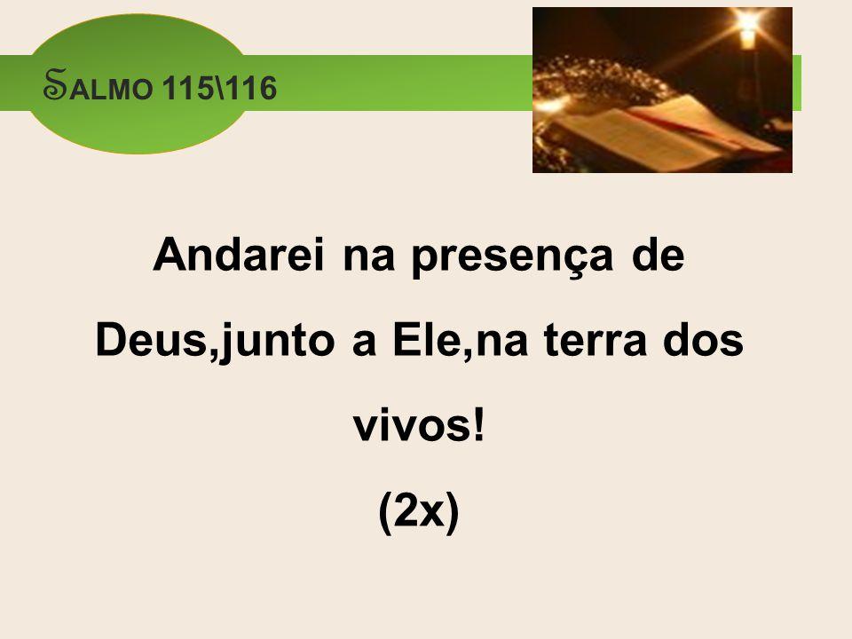 Andarei na presença de Deus,junto a Ele,na terra dos vivos! (2x)