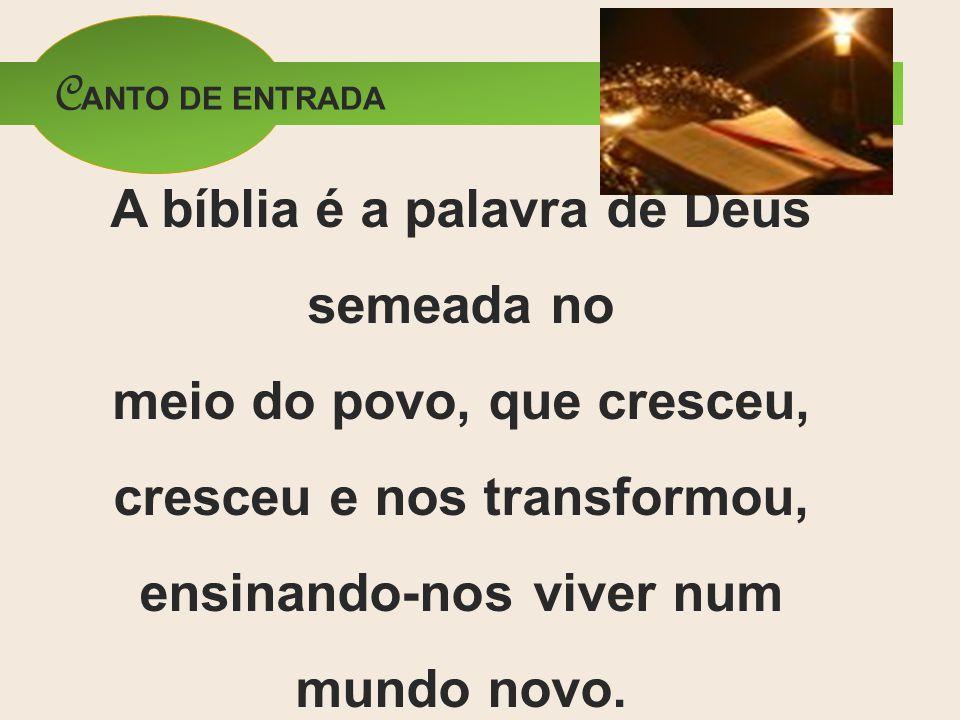 CANTO DE ENTRADA A bíblia é a palavra de Deus semeada no meio do povo, que cresceu, cresceu e nos transformou, ensinando-nos viver num mundo novo.