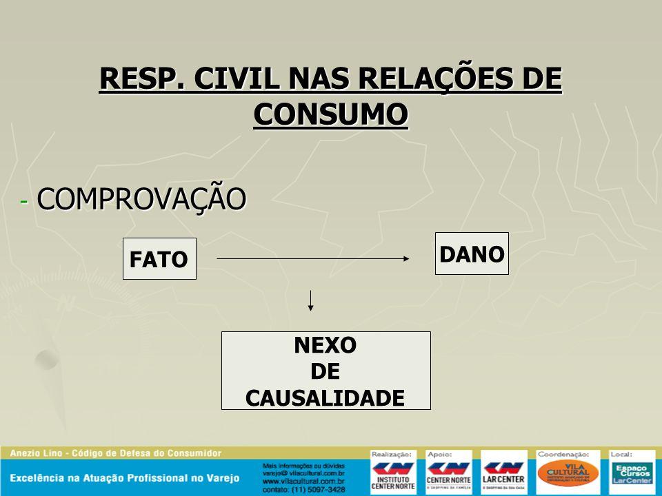 RESP. CIVIL NAS RELAÇÕES DE CONSUMO COMPROVAÇÃO