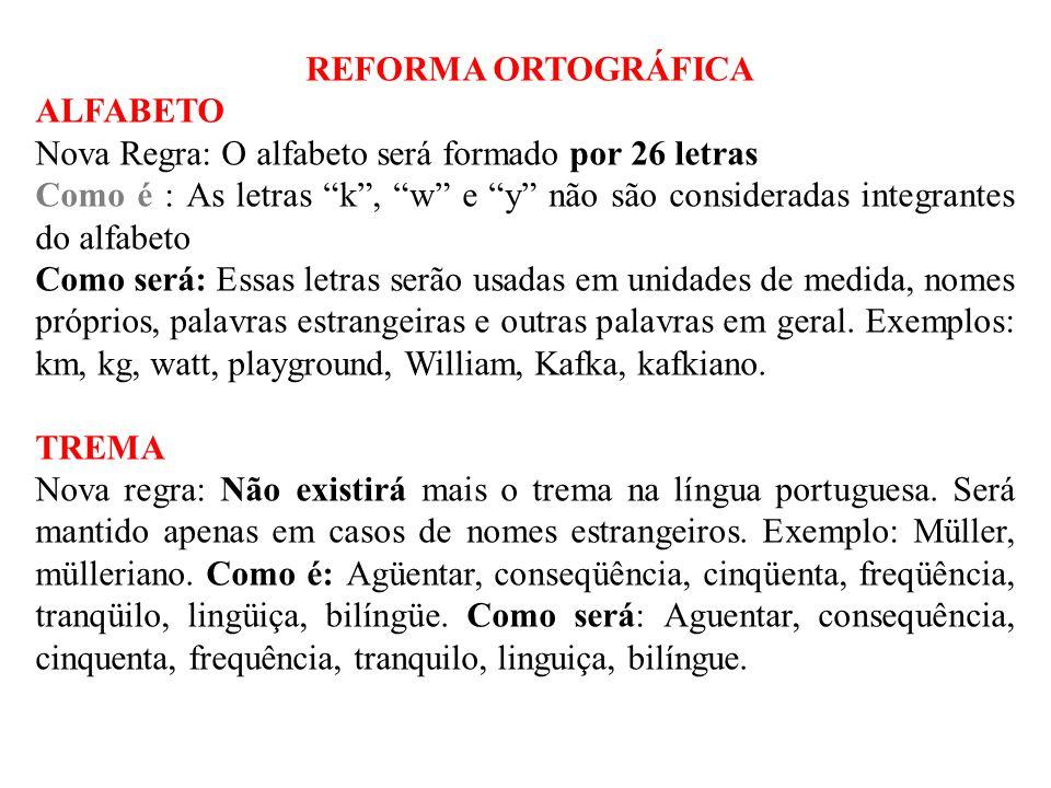 REFORMA ORTOGRÁFICA ALFABETO. Nova Regra: O alfabeto será formado por 26 letras.