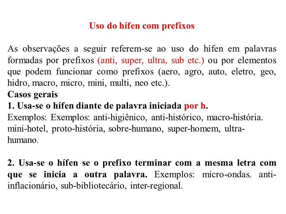 Uso do hífen com prefixos