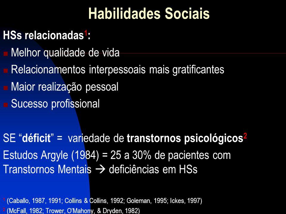 Habilidades Sociais HSs relacionadas1: Melhor qualidade de vida