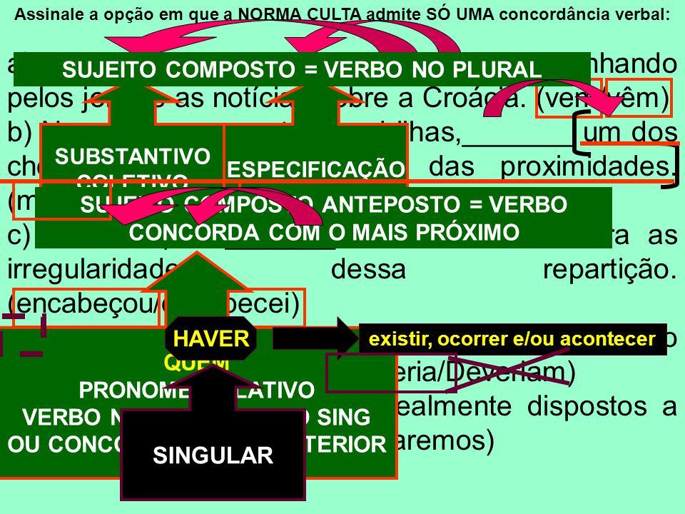 Assinale a opção em que a NORMA CULTA admite SÓ UMA concordância verbal:
