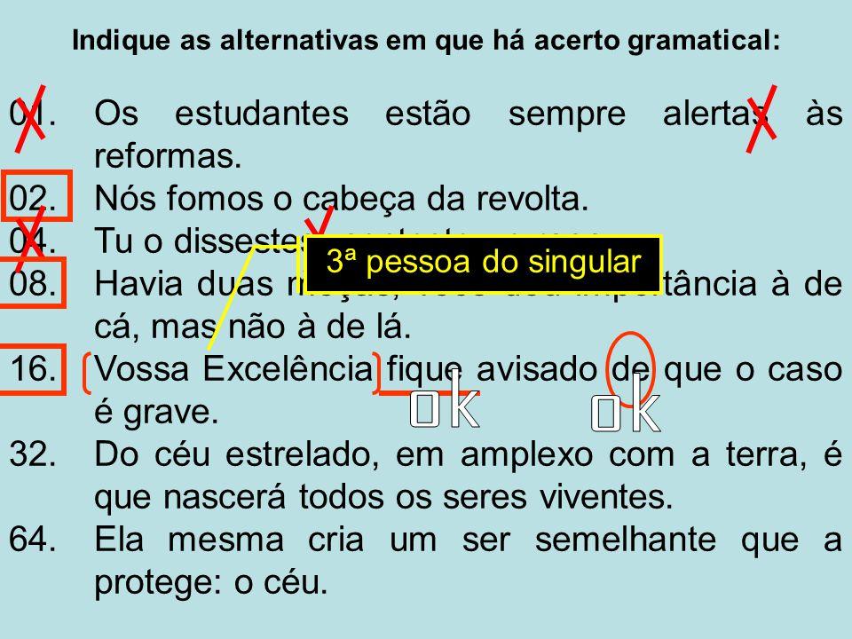 Indique as alternativas em que há acerto gramatical: