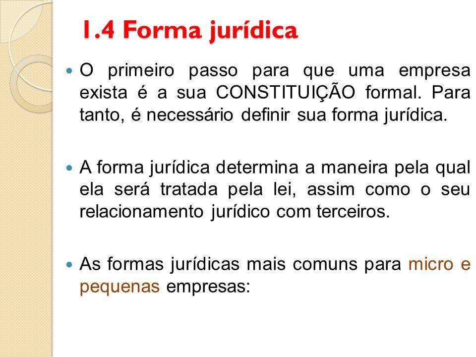 1.4 Forma jurídica O primeiro passo para que uma empresa exista é a sua CONSTITUIÇÃO formal. Para tanto, é necessário definir sua forma jurídica.