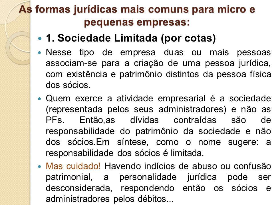 As formas jurídicas mais comuns para micro e pequenas empresas:
