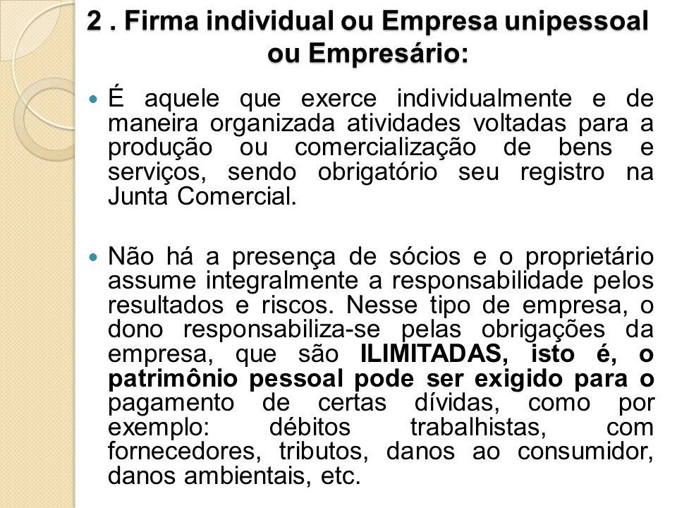 2 . Firma individual ou Empresa unipessoal ou Empresário: