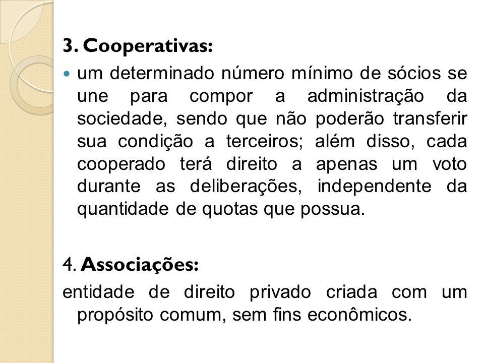3. Cooperativas: 4. Associações: