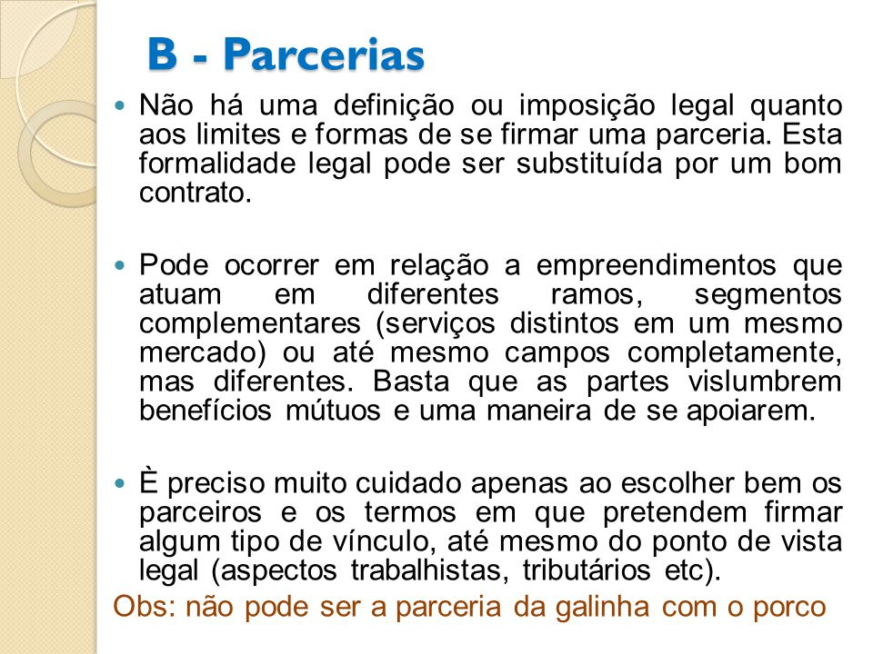 B - Parcerias