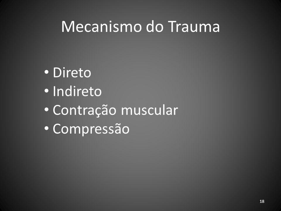Mecanismo do Trauma Direto Indireto Contração muscular Compressão