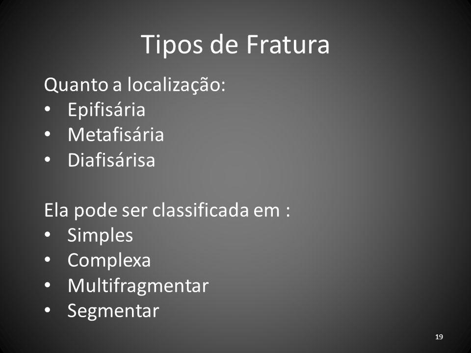 Tipos de Fratura Quanto a localização: Epifisária Metafisária