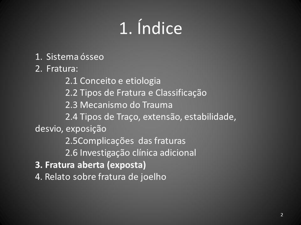 1. Índice Sistema ósseo Fratura: 2.1 Conceito e etiologia