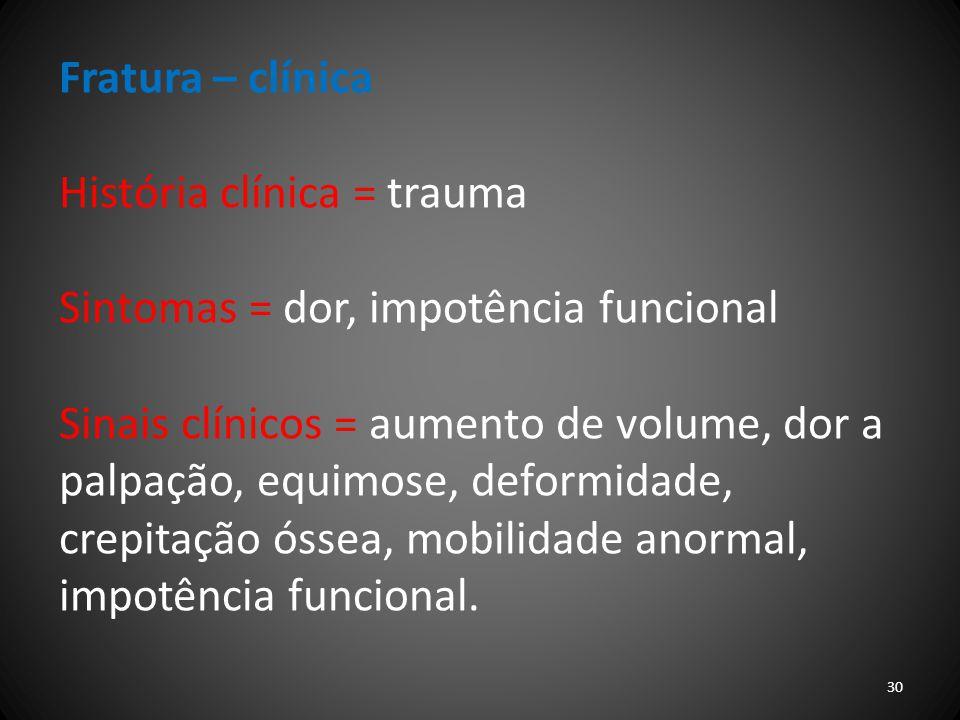 Fratura – clínica História clínica = trauma. Sintomas = dor, impotência funcional.